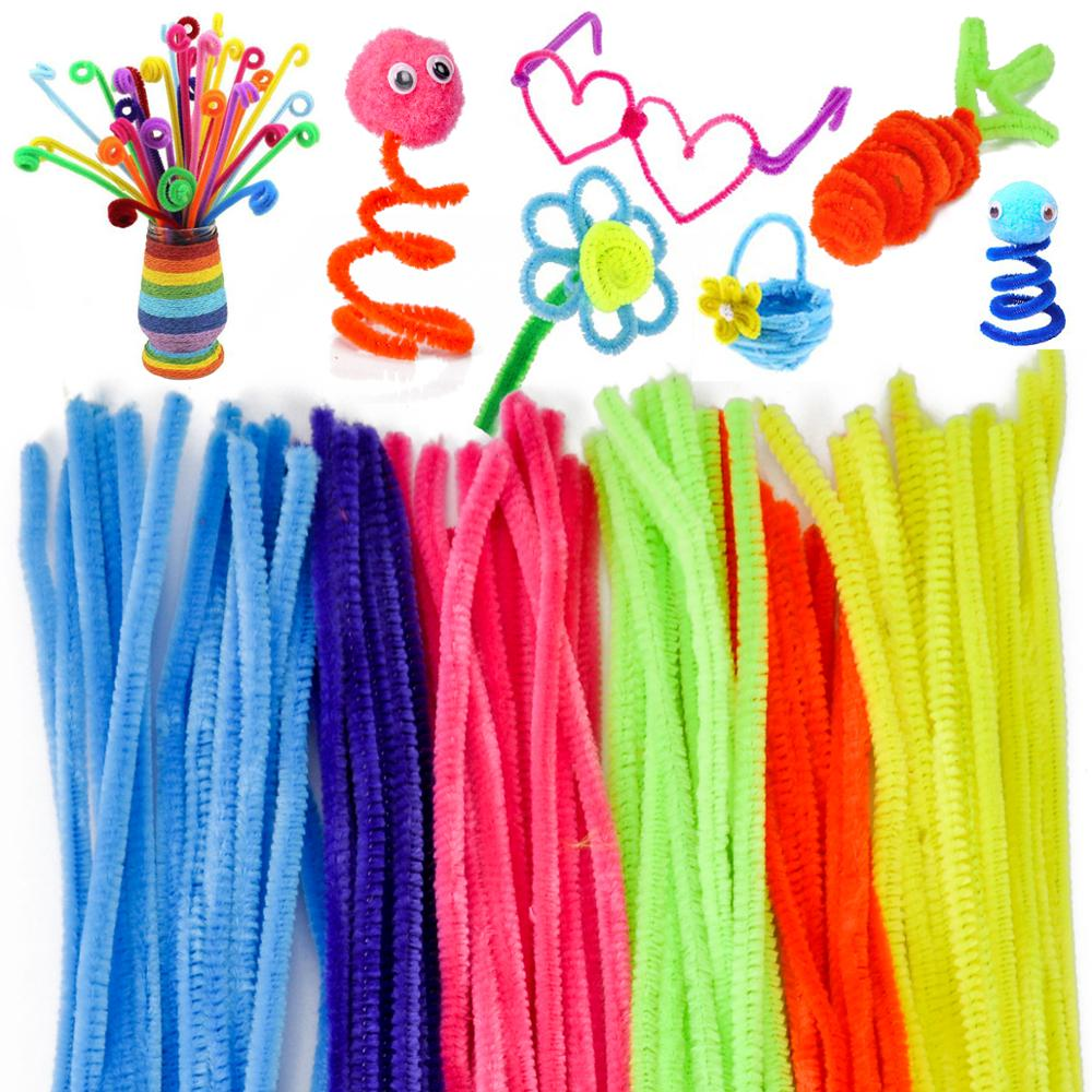 100pcs Strip+100pcs Wool Top+200 Gummed Eyes +200 Pills Children Educational Toy DIY Materials Shilly-stick Plush Stick Handmade