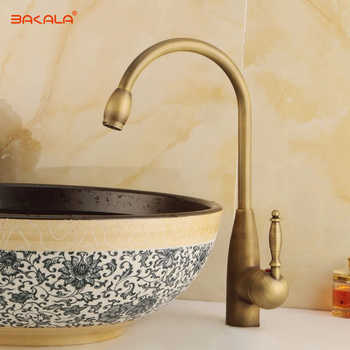 BAKALA Classic Single Hole Kitchen Sink Faucet Antique Brass Hot &Cold Basin Mixer Tap GZ//8122 - DISCOUNT ITEM  25% OFF Home Improvement