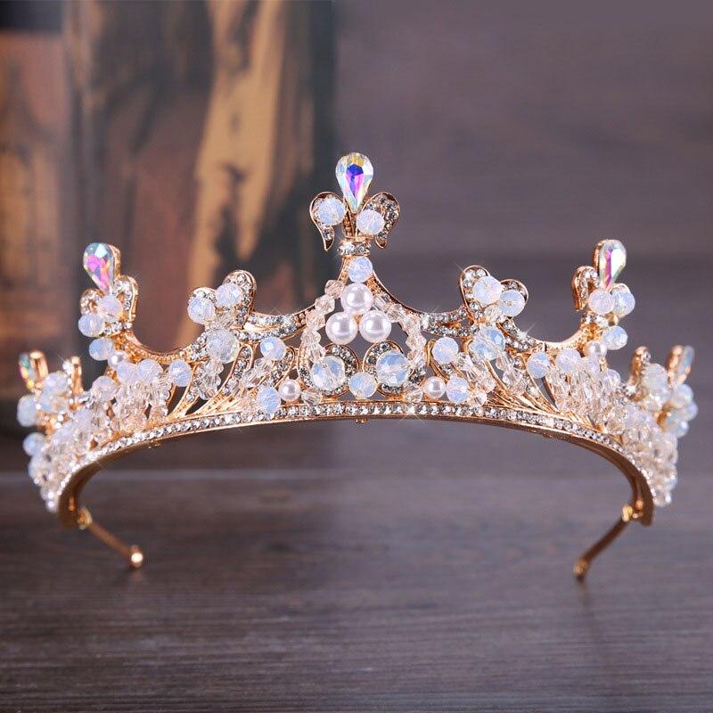Для женщин барокко золото имитация жемчуг кристалл невесты и короны, диадемы со стразами Свадебные корональных головной убор аксессуары дл...
