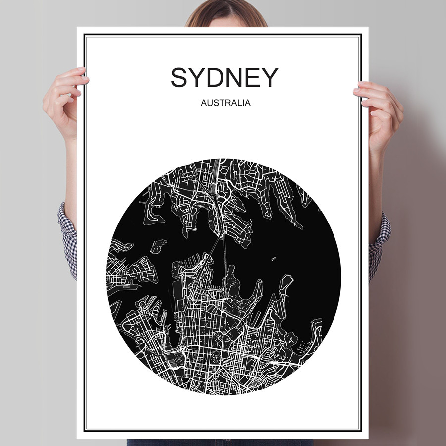 Australia sydney travel world map city poster simple print picture australia sydney travel world map city poster simple print picture oil painting canvas coated paper cafe living room picture in wall stickers from home gumiabroncs Image collections
