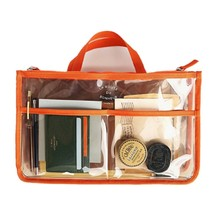 Travel PVC Transparent Zipper Storage bag Insert Handbag Org