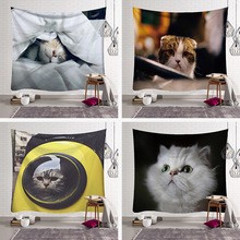 LYN&GY 3D Creative Cute Cats Series Pattern Polyester Tapestry Animal Printed Wall Hanging Mural Living Room Home Decor