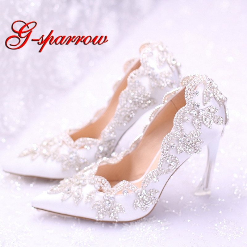 2018 White Bride Dress Shoes Rhinestone Formal Dress Shoes Pointed Toe Beautiful Satin Wedding Shoes 9cm Strange Heel Party Pump girls pearl beading rhinestone sandals princess square heel pointed toe dress shoes children wedding party formal shoes aa51329