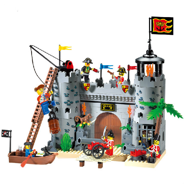 AIBOULLY 310 Castle Series Pirates Robbery Barracks Model Building Blocks Sets mini Kids Bricks Toys CHristmas Gift 366pcs set pirate castle pirates robbery barracks model building blocks savage pirate figures bricks diy toys for boys gift