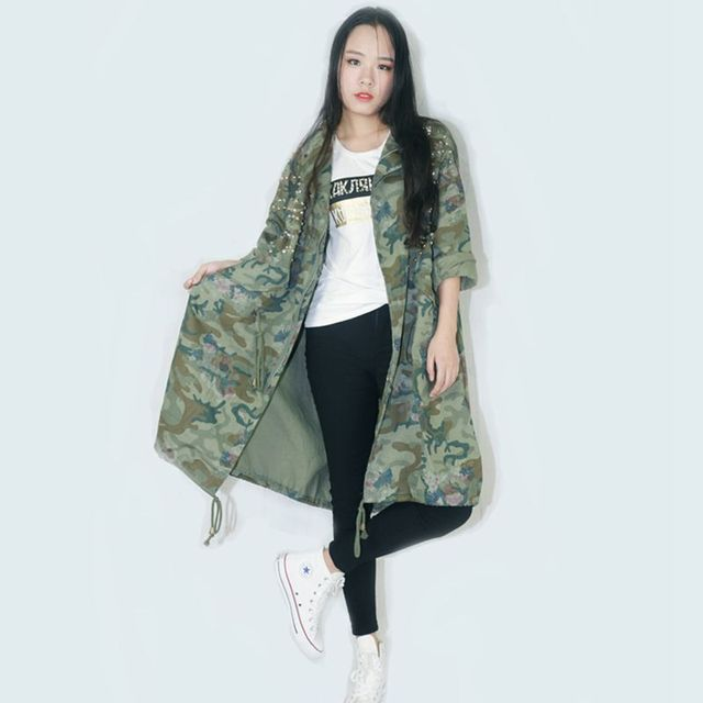 c6c3aa248f1 Fashion camouflage Bat trench coat women Rivet Diamond denim coats lady  loose Large size Windbreaker female