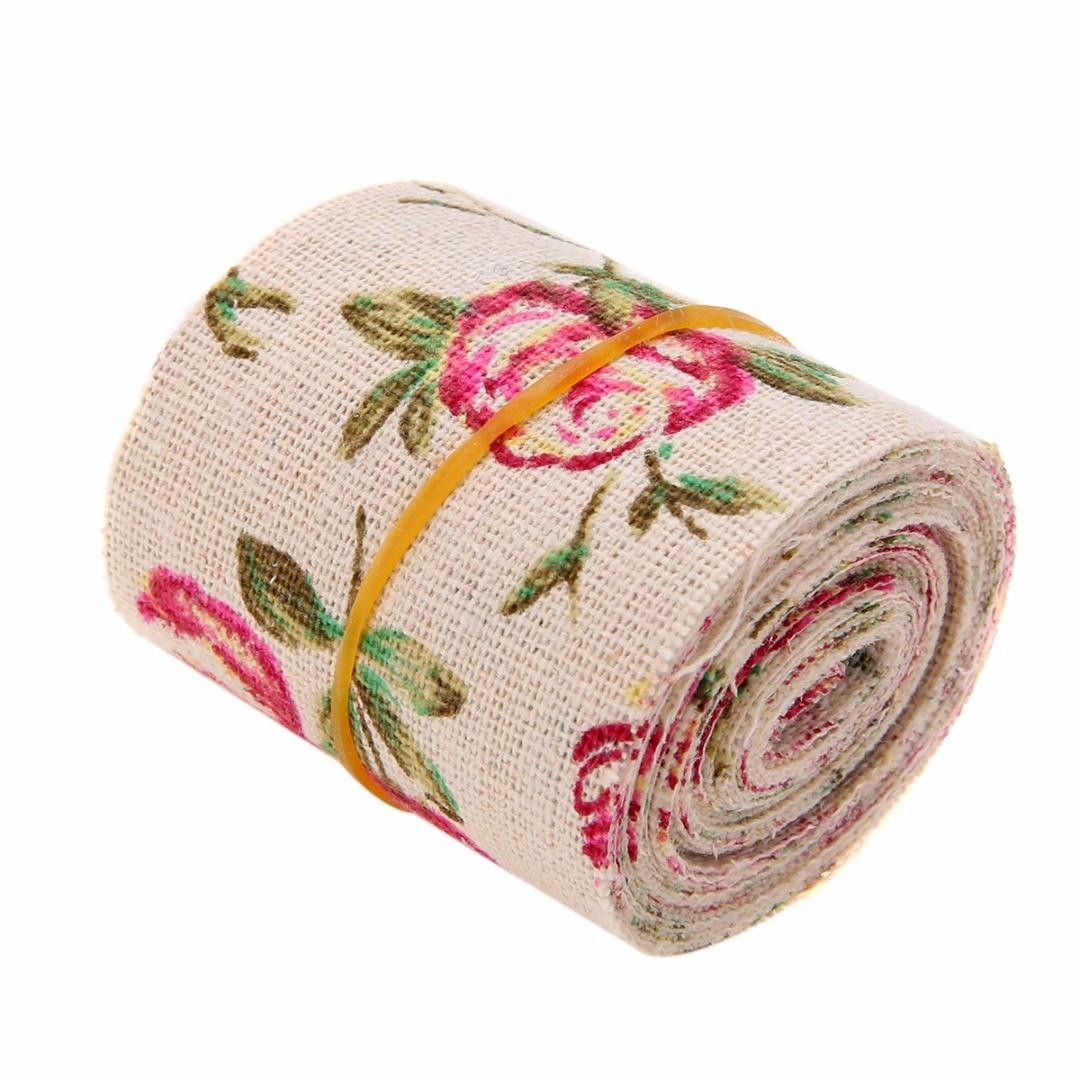 300CM Vintage Rose Floral Print Burlap Stylish Hessian Ribbon Fabric DIY Wedding Craft Decors Handmade Materials 2