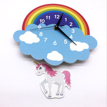 Lovely Cartoon Rainbow Unicorn Swing Wall Clock Wall Stickers Decorative Creative pendulum Animal Clock For Children Kids Gifts