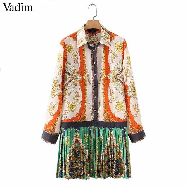 Vadim elegante cadenas impresión patchwork Vestido de manga larga cuello plisado Mujer Vestidos casual Vestidos QA543