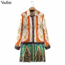 Vadim stylish chains print patchwork pleated dress long sleeve turn down collar pleated female casual dresses Vestidos QA543(China)
