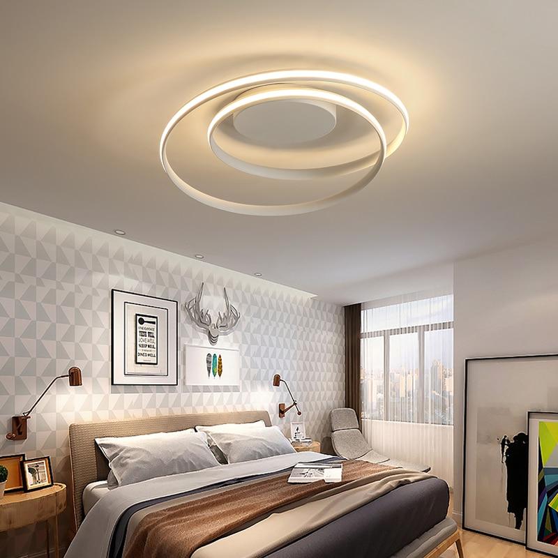 Surface Monté Moderne Plafonniers LED lampe pour Chambre Salon salle À Manger AC90-265V Blanc Noir Lustre Plafond Lampe Avize