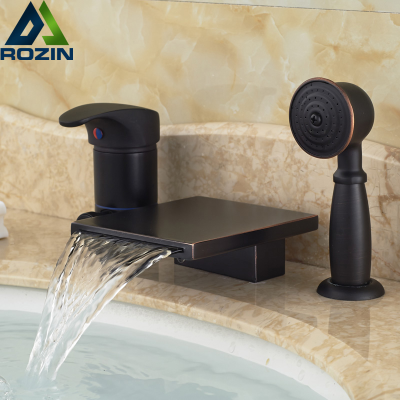 Deck Mount 3PCS Bathroom Waterfall Bathtub Faucet Single Lever Oil Rubbed Bronze with Handheld Shower