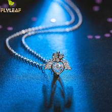 925 Sterling Silver Necklace Women Crown Angel Heart-shap Cubic Zirconia Chain Fashion Fine Jewelry Simple Necklaces & Pendants