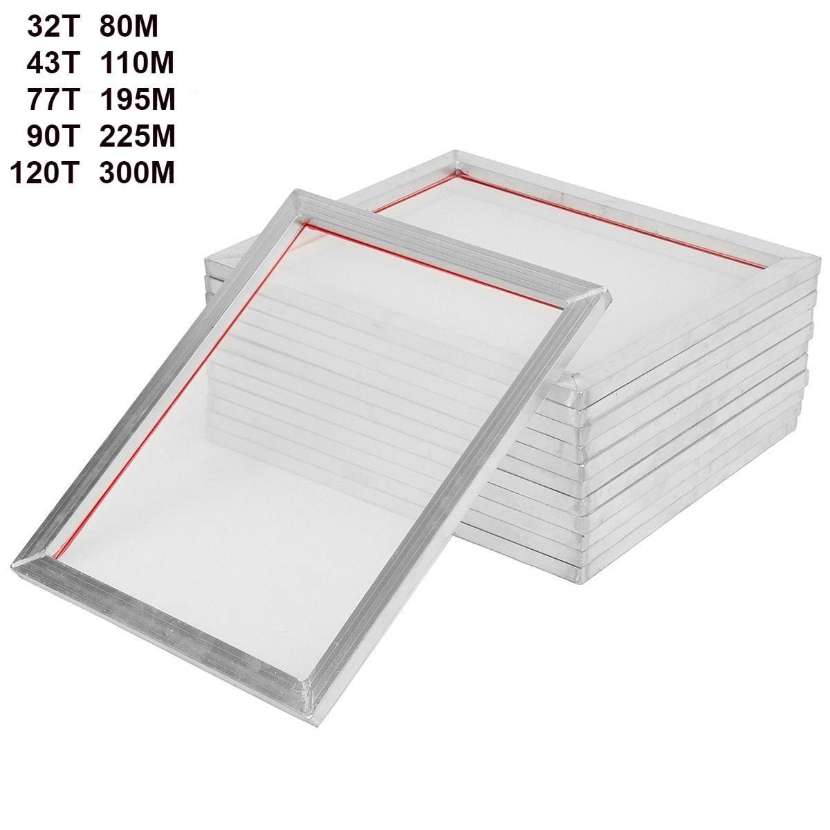 5Pack 46cm*41cm Aluminum Silk Screen Printing Press Frame 18'' X16'' Screens 32T 43T 77T 90T 120T White Polyester Mesh 40cm*35cm
