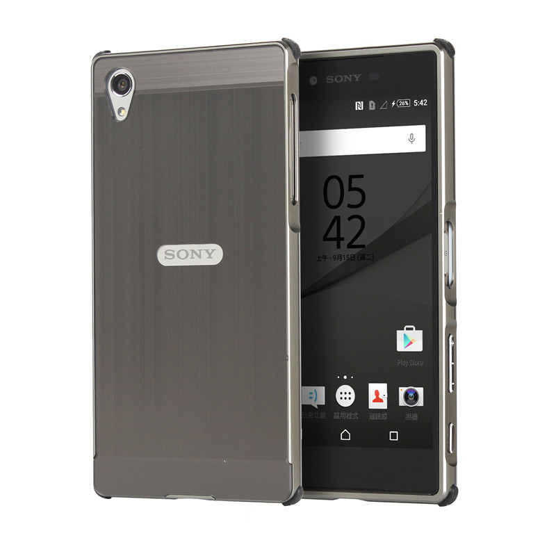 New For Sony Z5 Brushed Mirror Back Cover Case Plating Aluminum Metal Frame Set Anti knock