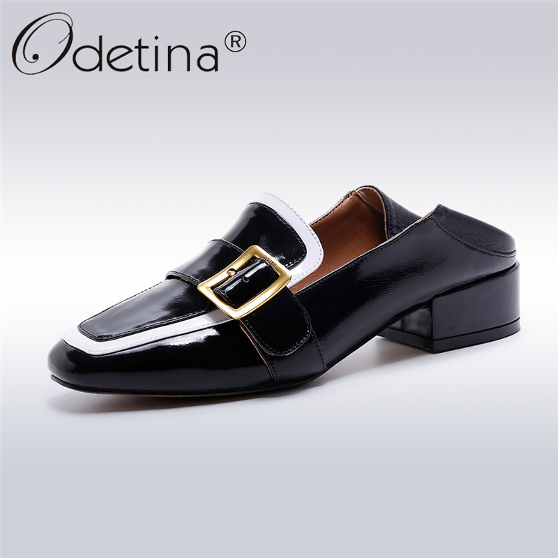 Odetina 2018 Fashion Women Genuine Leather Loafers Ladies Slip On Buckle Shoes Square Toe Chunky Heels Mixed Color Big Size 43 odetina fashion ladies summer shoes ballet flats women flat slip on ballerinas patent leather shallow mouth shoes big size 32 52