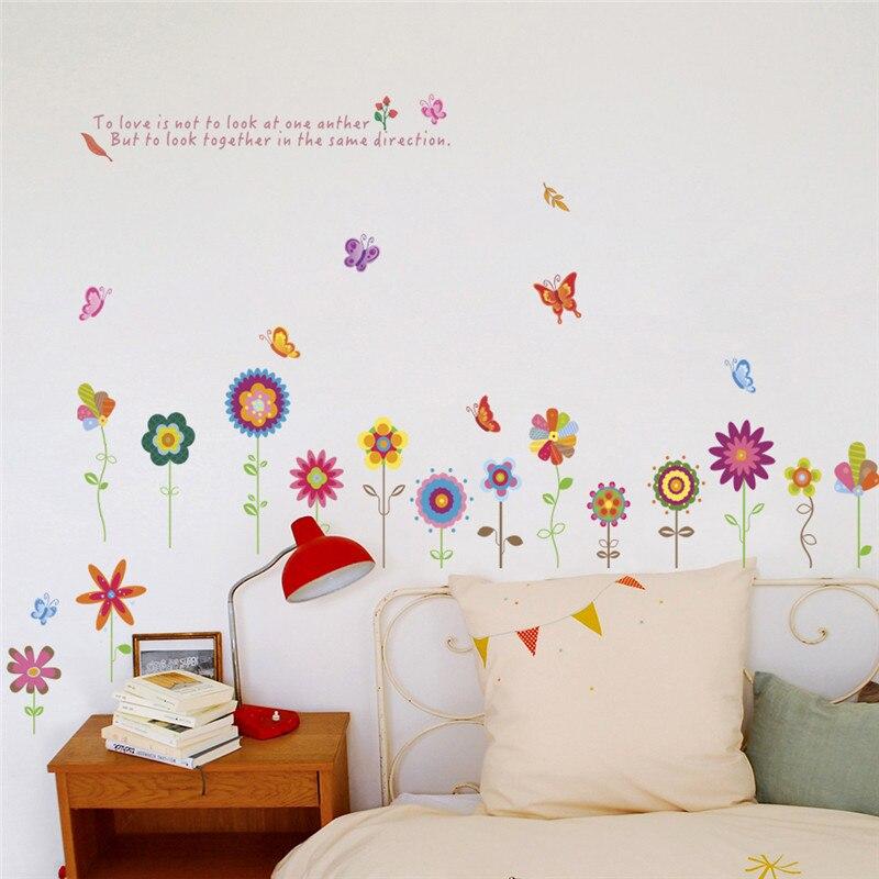 % Весна красочный цветок летящая пчела бабочка Природа сад окна стены Стикеры Детская комната Наклейка Гостиная Спальня украшения
