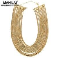MANILAI для женщин Statment ювелирные изделия Модные многослойная цепочка широкий Подвески bib Чокеры ожерелья для мужчин Bijoux Femininas ожерелье макси