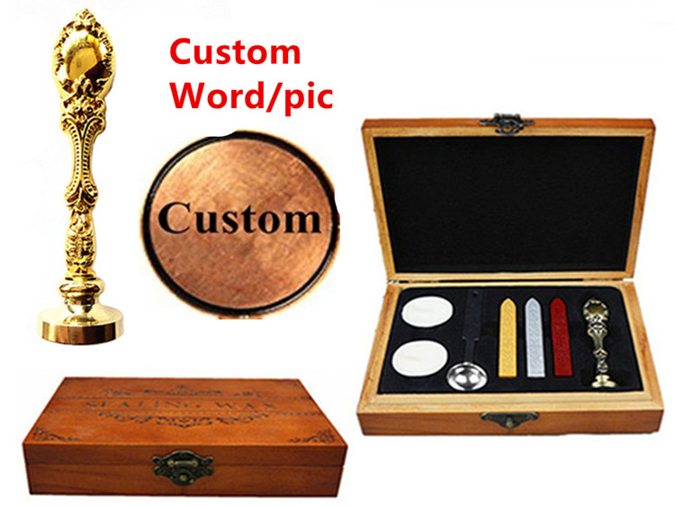 Vintage Custom Made Your Design Personalized Letter Picture Retro Invitation Wax Seal Stamp Handle Set Kit Peacock Metal box set 1 design laser cut white elegant pattern west cowboy style vintage wedding invitations card kit blank paper printing invitation