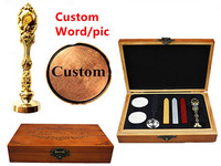 Vintage Custom Made Your Design Personalized Letter Picture Retro Invitation Wax Seal Stamp Handle Set Kit Peacock Metal box set