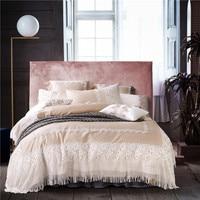 4/7pcs Luxury egyptian cotton lace bedding set queen king size bed linen set girls 4/7pcs duvet cover/bed sheet/pillow cases