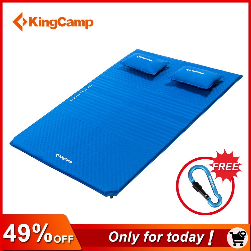 KingCamp Comfort Mattress Self-Inflating damp-proof 2-Person Camping mat with pillows Inflatable Mattress цены онлайн