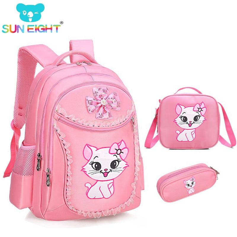 Sweet Cat Girl's School Bags Cartoon Pattern Kid Backpack Children School Backpack Girl Bag