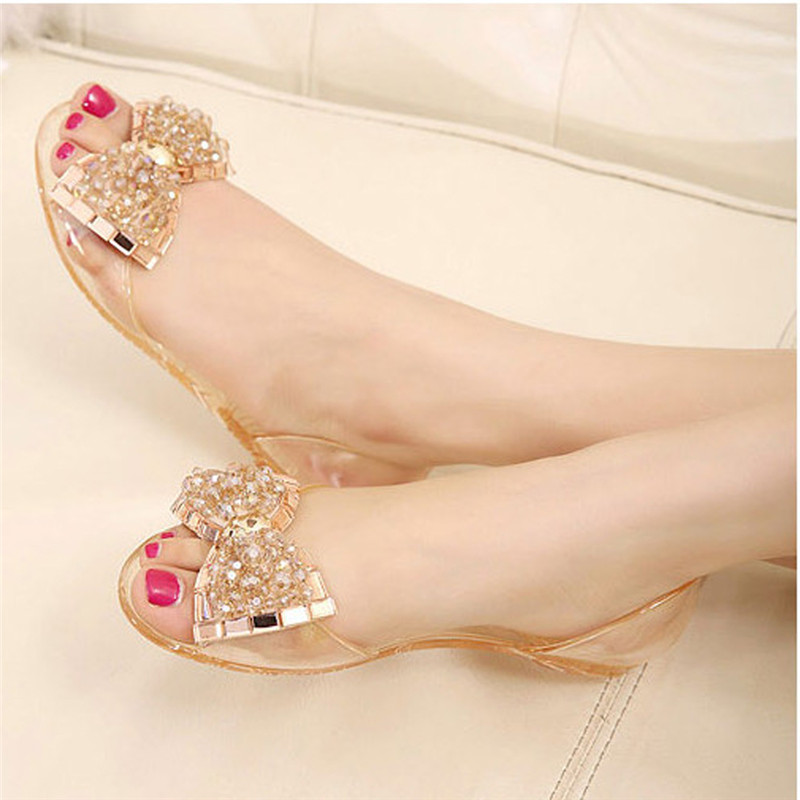 b22069cc6 Detail Feedback Questions about Nice Summer New Fashion Women Flip Flop  Slipper Female Plastic Beach Shoes Jelly Crystal Bowknot Flat Casual Sandals  For ...