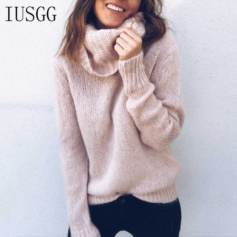 6656634401d6 2019 Winter Turtleneck Mohair Sweater 30% Wool Soft Hand Knit Tops Oversize  Thin Pullover Autumn