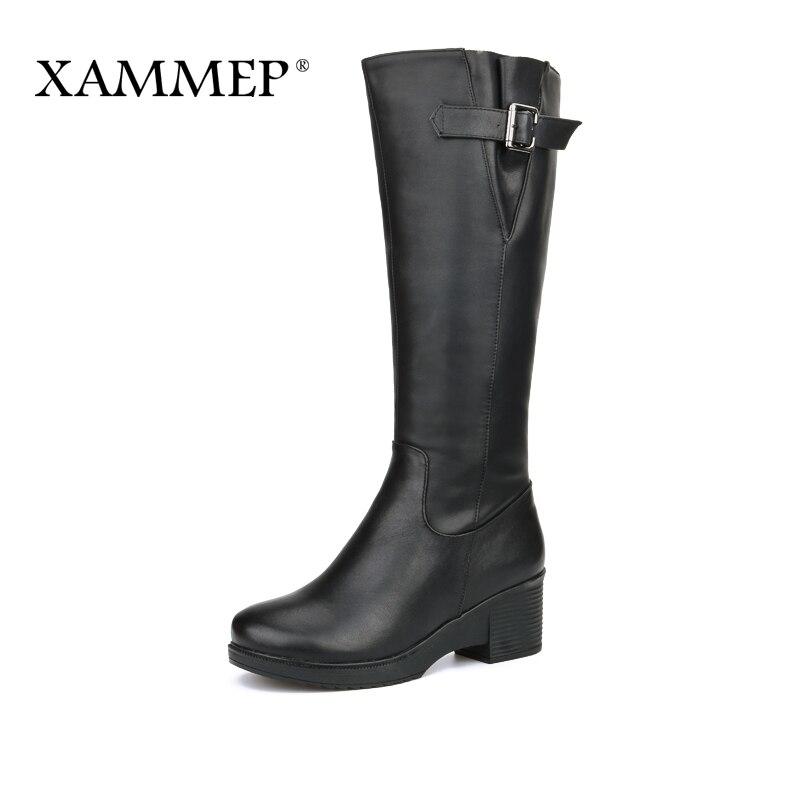 Xammep Для женщин Зимняя обувь Натуральная шерсть Пояса из натуральной кожи Женские зимние ботинки высококачественные ботфорты Брендовая женская зимняя обувь