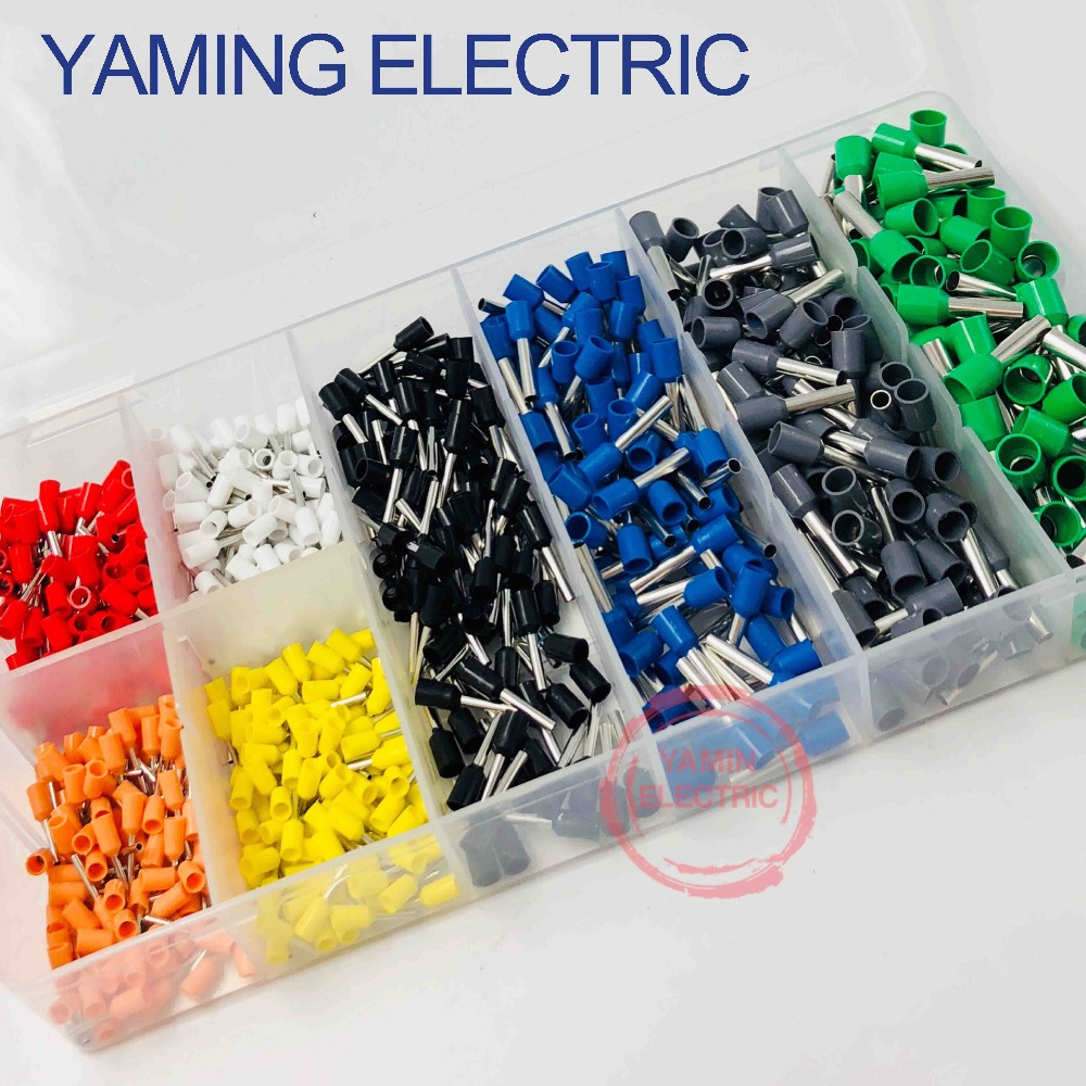 800pcs/set Mixed Copper Wire Crimp Connector Insulated Cord Pin End Tube Terminal Tool Kit Set AWG 10-22