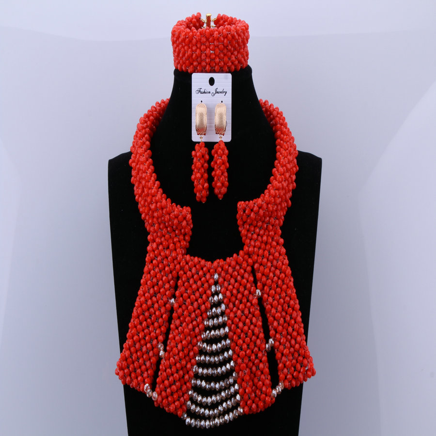 Partij bruids oorbellen ketting sieraden set klassiek rood goud - Mode-sieraden