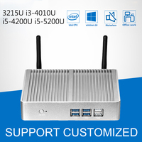 Mini PC Fanless Mini Computer Windows 10 Computer Office Intel Core i3 4010U i5 4200U i5 5200U Barebone Motherboard HDMI VGA