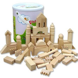 Candice guo wooden toy assemble building block castle wood color blocks children's educational birthday christams gift bucket high quality 50pcs classical and 52pcs forest animals wood building blocks toy bottled children educational wooden toy block