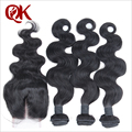 Brazilian Virgin Hair Body Wave With Closure Cheap 3 Bundles Human Hair With Closure 6A Brazilian Virgin Hair With Closure