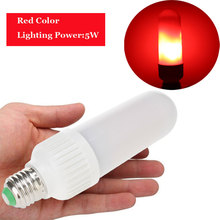Фотография New 5W LED Lamp Bulb E27 E26 Flame B22 Bayonet LED Light Bulb Flickering Breathing General Lighting Modes AC110-240V Color Red