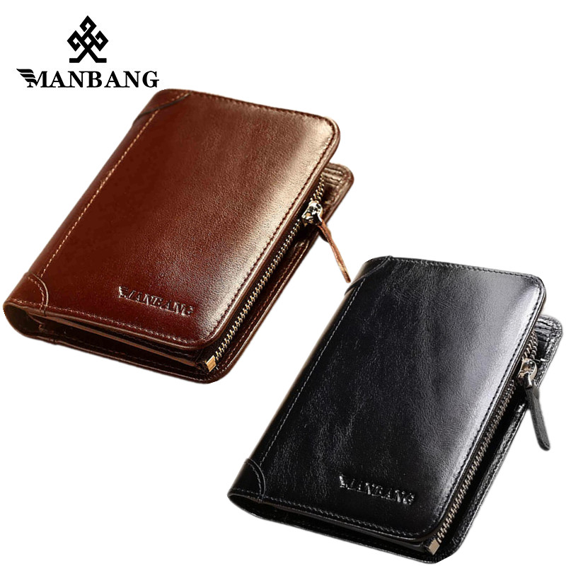 ManBang Wallet Genuine Leather Men Wallets Short Male Purse Card Holder Wallet Men Fashion Purse Billfold Zipper Coin Pocket