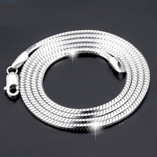 925 Silver Chain Necklace for Male/ Female, Sterling Silver Octagonal Snake Chain Necklace, Choker Necklace