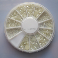 1PC OD-92 3D 6 sizes White Pearl Decoration in wheel Shiny Nail Decoration Lovely Outlooking