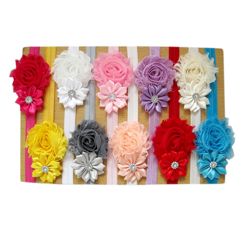 Newborn headbands 5pcs Lovely Hair Band  Baby Girl's Headbands Chiffon Hair Flower Item Type Head HeadBands #5(China)