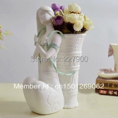 Unique Flower Vase Beautiful Girl Flower Basket Ceramic White