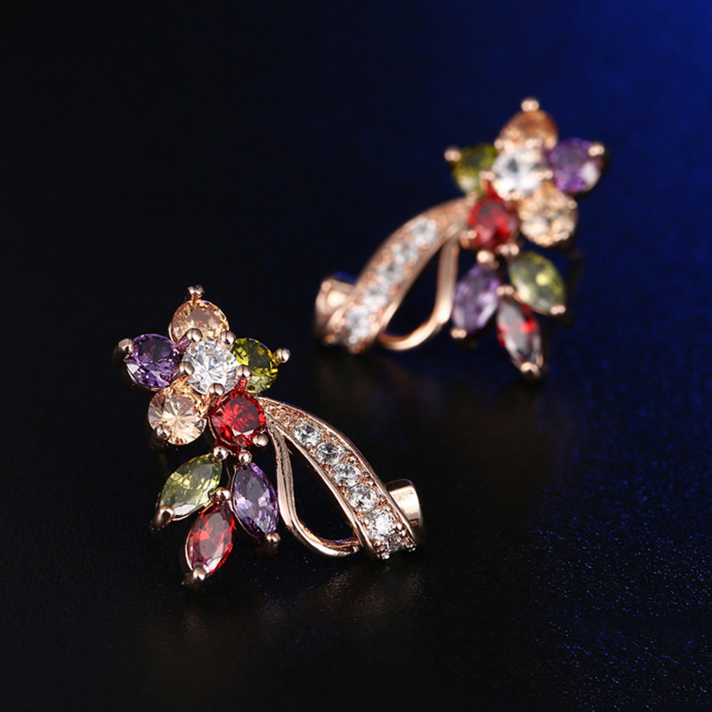 New Fashion CZ Crystal Earrings Colorful Flower Stud Earrings Rose Gold Color Earring For Women Party Jewelry