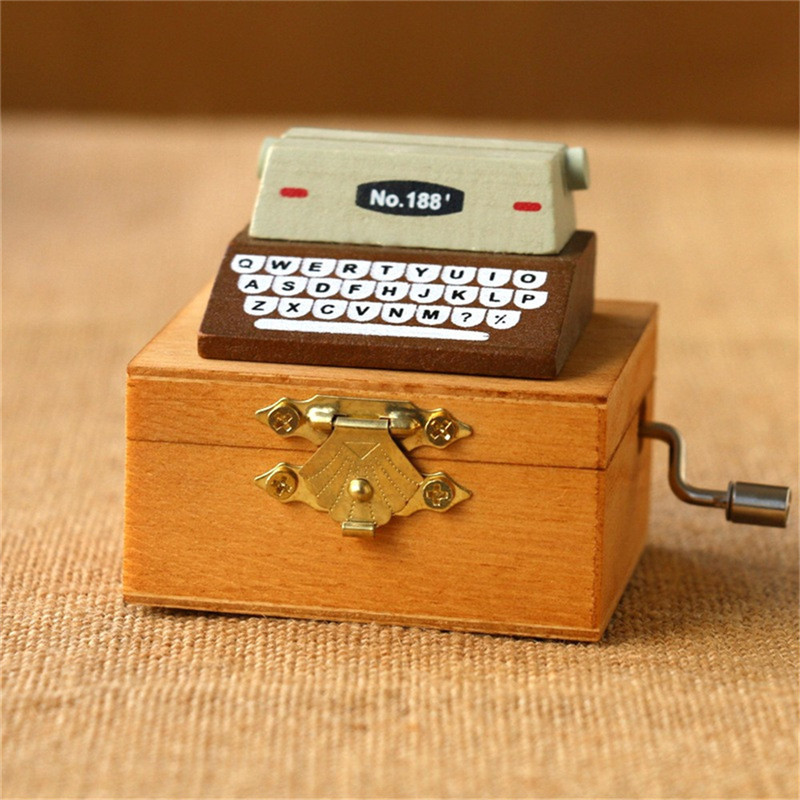 Home Decor Retro Vintage Typewriter Mini Music Box Mechanism Wooden Hand Crank Music box Toys Happy Birthday Gift