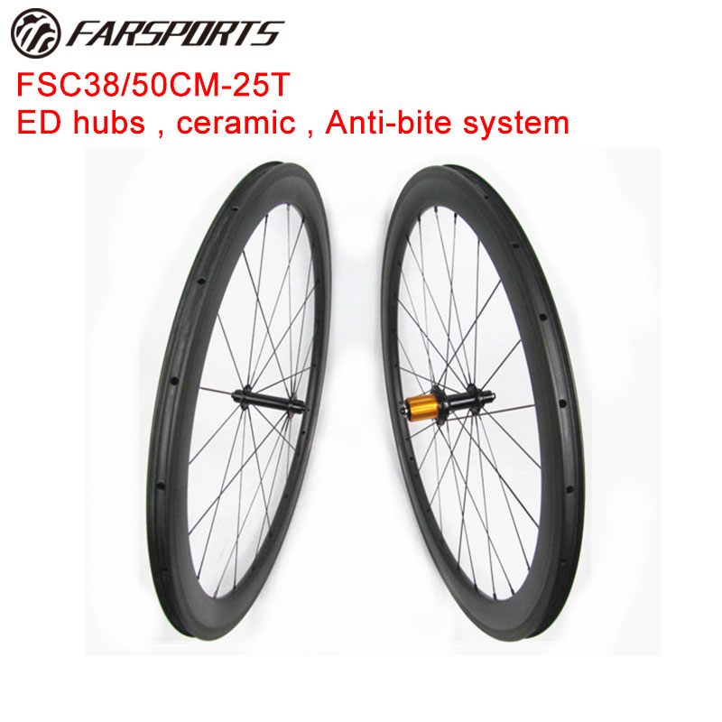 High quality tubeless ready carbon clincher wheelsets 38mm front 50mm rear 25mm wide 12K glossy rim finish ceramic bearings