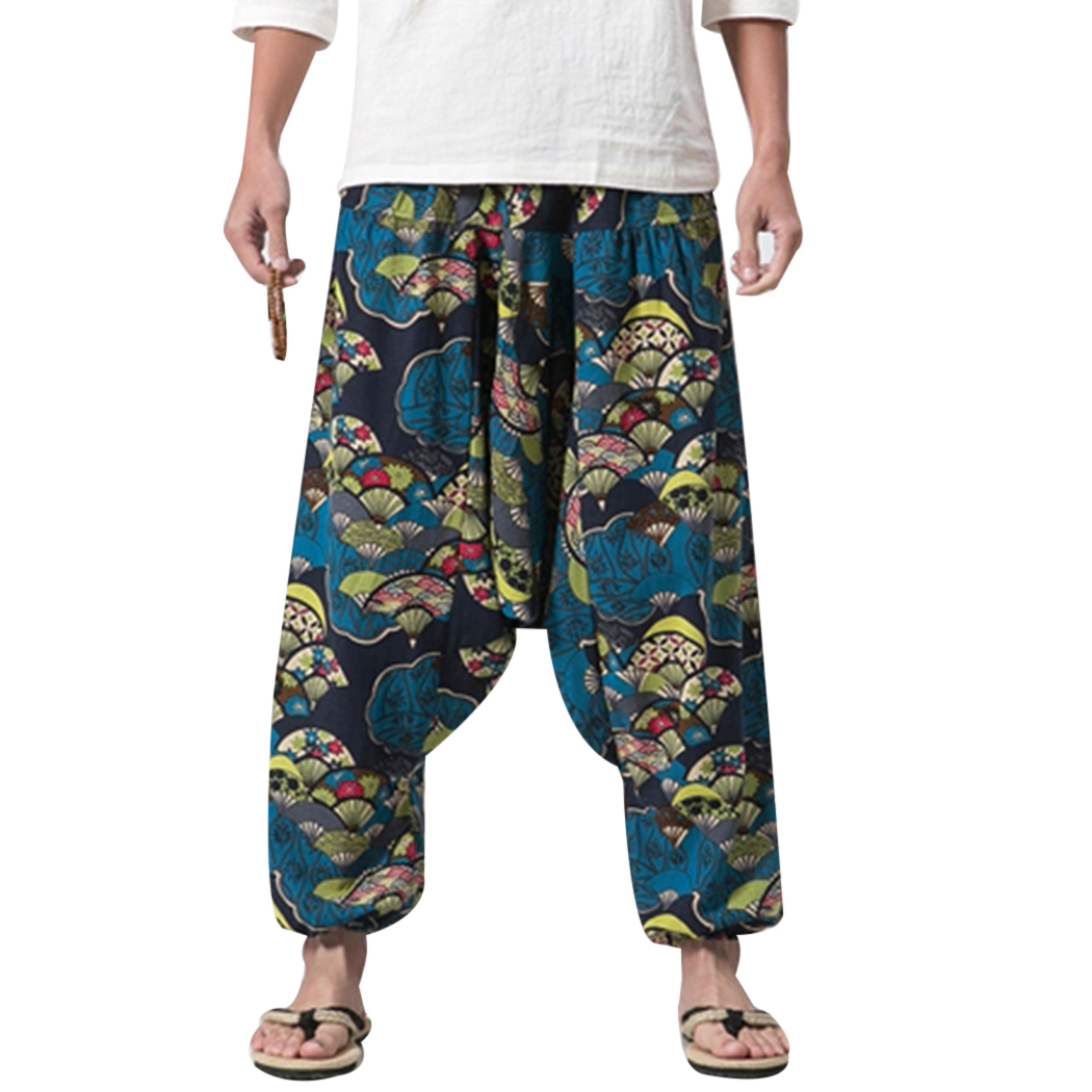 Casual Pants Aladdin Trousers Wide-Leg Hip-Hop Cotton Linen Baggy Plus-Size New-Fashion