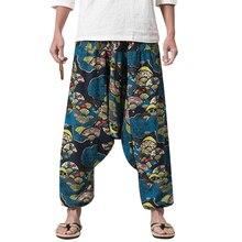 New Hip Hop Women Aladdin Hmong Baggy Cotton Linen Harem Pants Men Plus  Size Wide Leg 3419442083d1