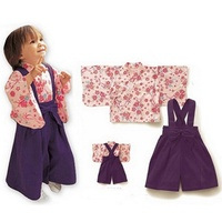 Japanese Baby Girl Kimono Jumpsuit with Top 2 Sets