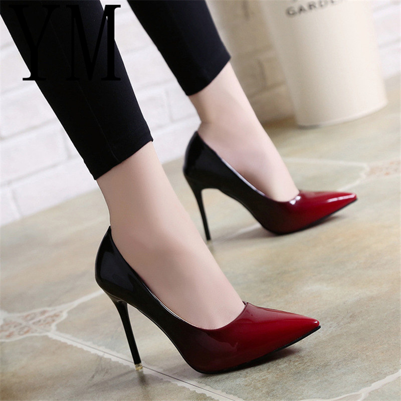 2018 Shadow Women Shoes Pointed Toe Pumps Patent Leather Dress Wine Red 10CM High Heels Boat Shoes Wedding Shoes Zapatos Mujer