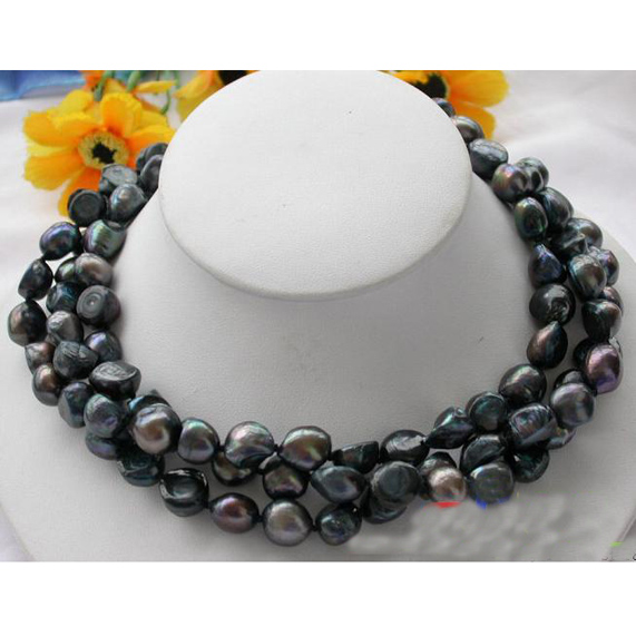 Natural Pearl Necklace,3Rows 10-13mm Black Baroque Freshwater Pearl Jewellery,Magnet Clasp,Perfect Women Chirstmas Gift Jewelry