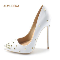 ALMUDENA Rivets Pointed toe Heels Women Sexy White Black Dress Pumps Gold Rivets Gladiator Shoes 10cm 12cm Stiletto Heel Pumps