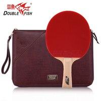 オリジナルダブルフィッシュ 9A 9 星ヒノキカーボン繊維卓球バットピンポンラケットでんこうせっかにきび革バッグ